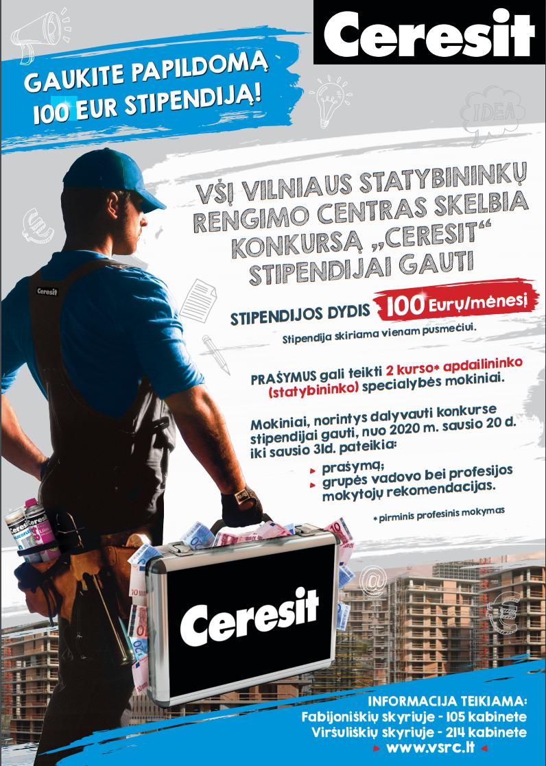"""2020-02-27 Vardinė """"CERESIT"""" stipendija – 100 eurų."""